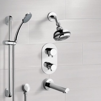 Tub and Shower Faucet Chrome Thermostatic Tub and Shower System with Multi Function Shower Head and Hand Shower Remer TSR05