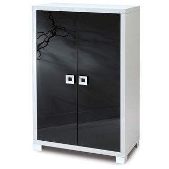 Cabinet Stylish Glossy White Cabinet with 2 Doors Sarmog 570