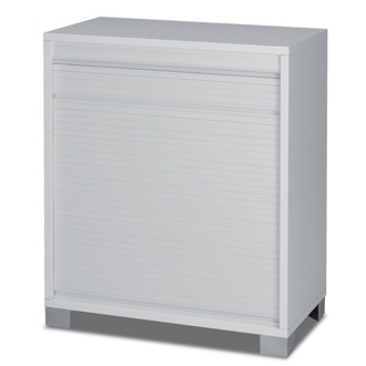 Cabinet Modern White Small Cabinet with Rolling Shutter Sarmog 7046
