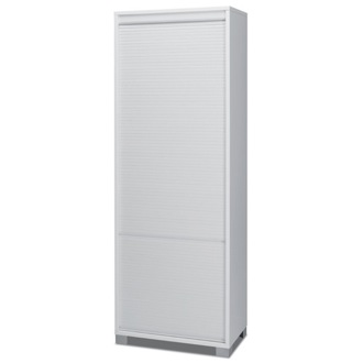 Cabinet Contemporary White Wood High Cabinet with Rolling Shutter Sarmog 7054