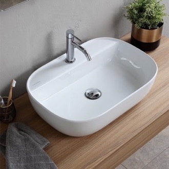 Bathroom Sink Oval White Ceramic Vessel Sink Scarabeo 1802
