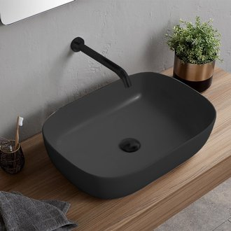Bathroom Sink Oval Matte Black Vessel Sink in Ceramic Scarabeo 1804-49