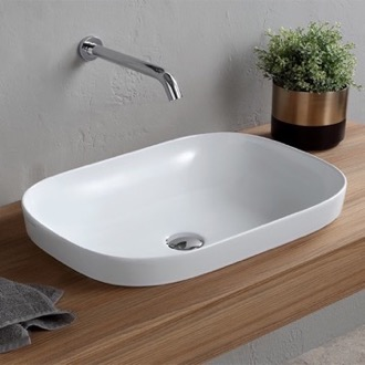 Bathroom Sink Oval White Ceramic Drop In Sink Scarabeo 1805