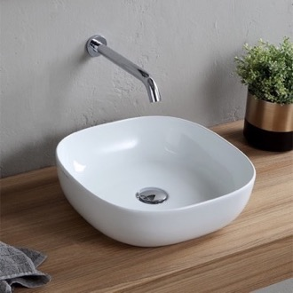 Bathroom Sink Round White Ceramic Vessel Sink Scarabeo 1806