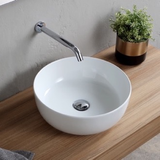 Bathroom Sink Round White Ceramic Vessel Sink Scarabeo 1807
