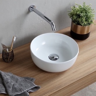 Bathroom Sink Small Round Ceramic Vessel Sink Scarabeo 1808