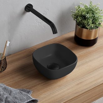 Bathroom Sink Small Matte Black Vessel Sink in Ceramic Scarabeo 1809-49