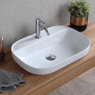 Bathroom Sink Oval White Ceramic Drop In Sink Scarabeo 1810