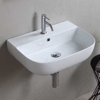 Bathroom Sink Modern White Ceramic Wall Mounted or Vessel Sink Scarabeo 1811
