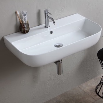 Bathroom Sink Modern White Ceramic Wall Mounted or Vessel Sink Scarabeo 1812