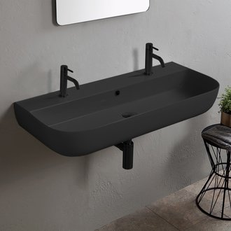 Bathroom Sink Matte Black Ceramic Trough Wall Mounted or Vessel Sink Scarabeo 1813B-49