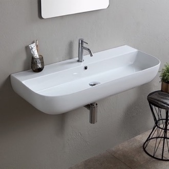 Bathroom Sink Modern White Ceramic Wall Mounted or Vessel Sink Scarabeo 1813