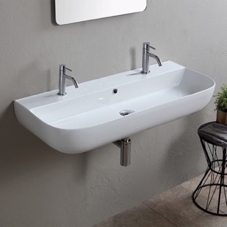 Bathroom Sink Modern White Ceramic Wall Mounted or Vessel Sink Scarabeo 1813B