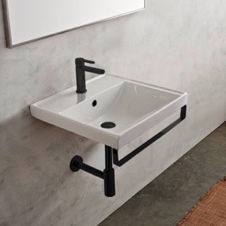 Bathroom Sink Rectangular Wall Mounted Ceramic Sink With Matte Black Towel Bar Scarabeo 3004-TB-BLK