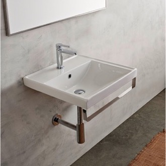 Bathroom Sink Rectangular Wall Mounted Ceramic Sink With Polished Chrome Towel Bar Scarabeo 3004-TB