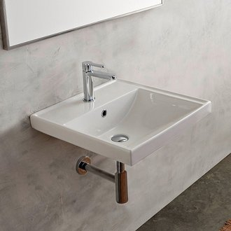 Bathroom Sink Rectangular White Ceramic Wall Mounted or Drop In Bathroom Sink Scarabeo 3004
