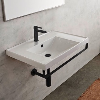 Bathroom Sink Rectangular Wall Mounted Ceramic Sink With Matte Black Towel Bar Scarabeo 3005-TB-BLK