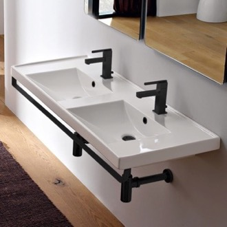 Bathroom Sink Double Basin Wall Mounted Ceramic Sink With Matte Black Towel Bar Scarabeo 3006-TB-BLK