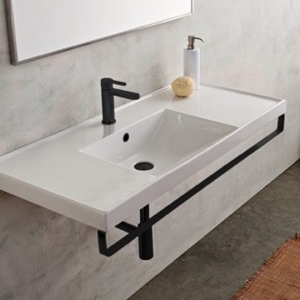 Bathroom Sink Rectangular Wall Mounted Ceramic Sink With Matte Black Towel Bar Scarabeo 3007-TB-BLK