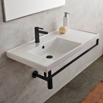 Bathroom Sink Rectangular Wall Mounted Ceramic Sink With Matte Black Towel Bar Scarabeo 3008-TB-BLK
