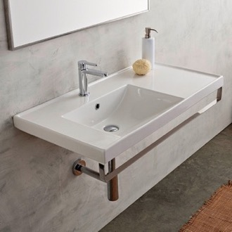 Bathroom Sink Rectangular Wall Mounted Ceramic Sink With Polished Chrome Towel Bar Scarabeo 3008-TB