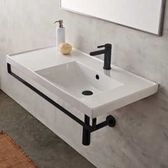 Bathroom Sink Rectangular Wall Mounted Ceramic Sink With Matte Black Towel Bar Scarabeo 3009-TB-BLK