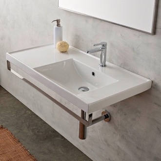 Bathroom Sink Rectangular Wall Mounted Ceramic Sink With Polished Chrome Towel Bar Scarabeo 3009-TB