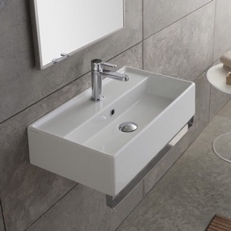 Bathroom Sink Rectangular Wall Mounted Ceramic Sink With Polished Chrome Towel Bar Scarabeo 5002-TB