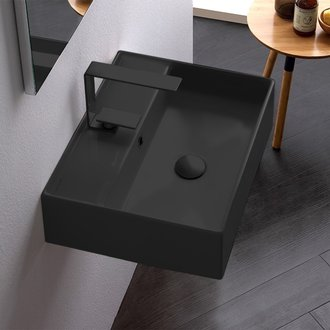 Bathroom Sink Rectangular Matte Black Ceramic Wall Mounted or Vessel Sink Scarabeo 5111-49