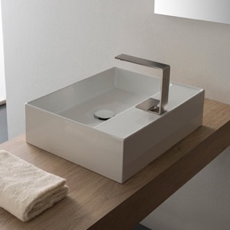 Bathroom Sink Rectangular White Ceramic Vessel Sink Scarabeo 5112