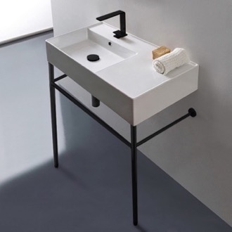 Bathroom Sink Ceramic Console Sink and Matte Black Stand Scarabeo 5115-CON-BLK