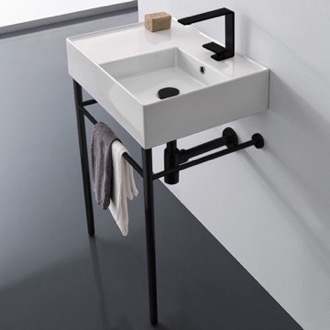 Bathroom Sink Ceramic Console Sink and Matte Black Stand Scarabeo 5117-CON-BLK