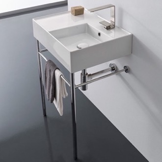 Bathroom Sink Rectangular Ceramic Console Sink and Polished Chrome Stand Scarabeo 5117-CON