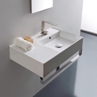 Bathroom Sink Rectangular Ceramic Wall Mounted Sink With Counter Space, Towel Bar Included Scarabeo 5117-TB
