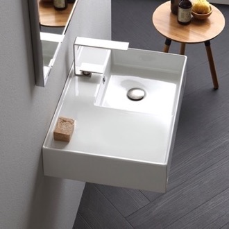 Bathroom Sink Rectangular Ceramic Wall Mounted or Vessel Sink With Counter Space Scarabeo 5117