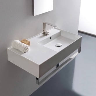 Bathroom Sink Rectangular Ceramic Wall Mounted Sink With Counter Space, Includes Towel Bar Scarabeo 5118-TB
