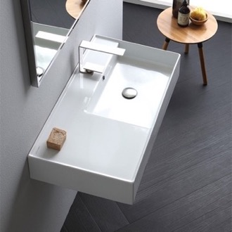 Bathroom Sink Rectangular Ceramic Wall Mounted or Vessel Sink With Counter Space Scarabeo 5118