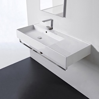 Bathroom Sink Rectangular Ceramic Wall Mounted Sink With Counter Space, Towel Bar Included Scarabeo 5119-TB