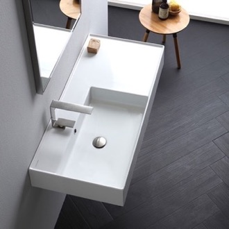 Bathroom Sink Rectangular Ceramic Wall Mounted or Vessel Sink With Counter Space Scarabeo 5119