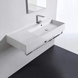 Bathroom Sink Rectangular Ceramic Wall Mounted Sink With Counter Space, Towel Bar Included Scarabeo 5120-TB