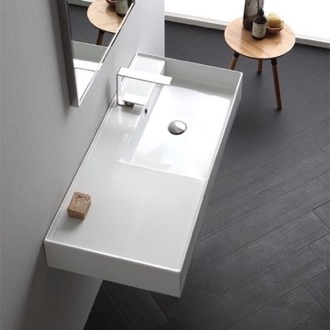 Bathroom Sink Rectangular Ceramic Wall Mounted or Vessel Sink With Counter Space Scarabeo 5120