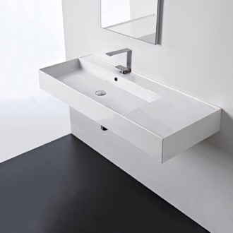 Bathroom Sink Rectangular Ceramic Wall Mounted or Vessel Sink With Counter Space Scarabeo 5121