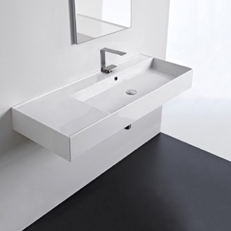Bathroom Sink Rectangular Ceramic Wall Mounted or Vessel Sink With Counter Space Scarabeo 5122