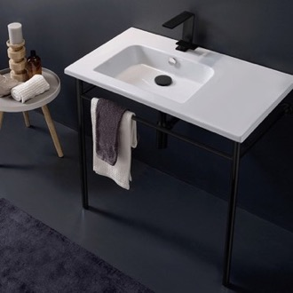 Bathroom Sink Ceramic Console Sink and Matte Black Stand Scarabeo 5211-CON-BLK