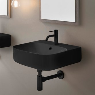 Bathroom Sink Round Matte Black Ceramic Wall Mount Sink Scarabeo 5507-49