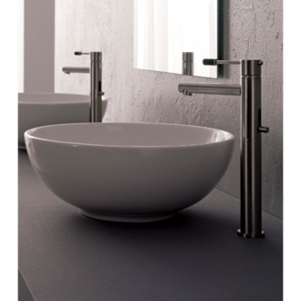 Bathroom Sink Round White Ceramic Vessel Sink Scarabeo 8009
