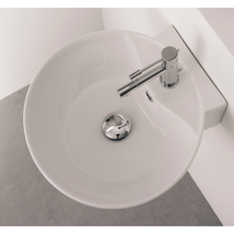 Bathroom Sink Round White Ceramic Wall Mounted or Vessel Sink Scarabeo 8009/R