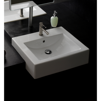 Bathroom Sink 20 Inch Square Ceramic Semi-Recessed Sink Scarabeo 8025/D