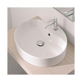 Bathroom Sink Oval-Shaped White Ceramic Vessel Sink Scarabeo 8030/R