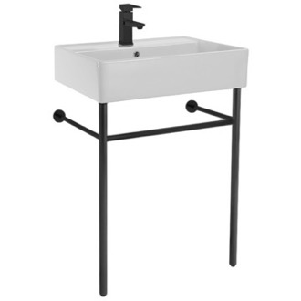 Bathroom Sink Ceramic Console Sink and Matte Black Stand Scarabeo 8031/R-60-CON-BLK